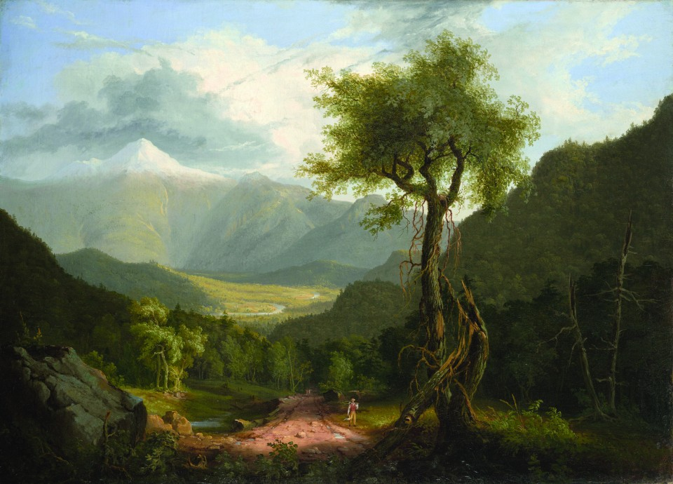 Thomas Cole American, born England, 1801–1848 View in the White Mountains, 1827 Oil on canvas; 25 3/8 x 35 3/16 in. Wadsworth Atheneum Museum of Art Bequest of Daniel Wadsworth, 1848.17